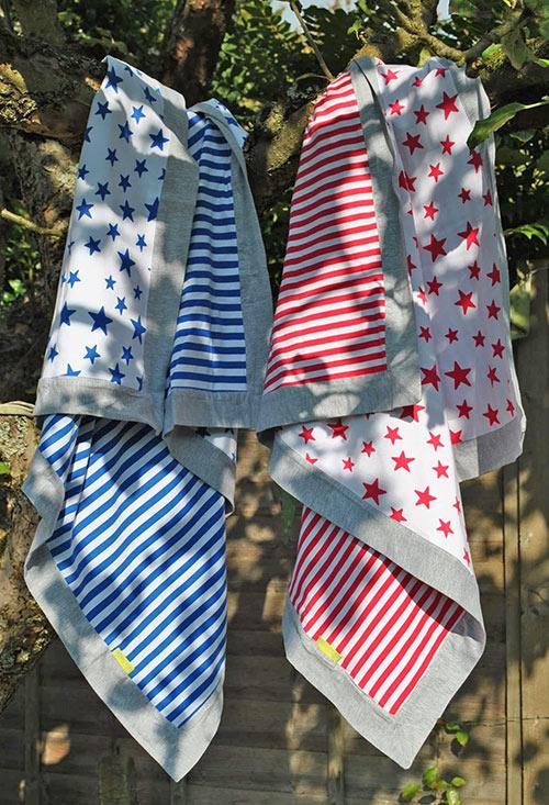 Cerise Stars And Stripes Supersoft Blanket Lilla Kuddis